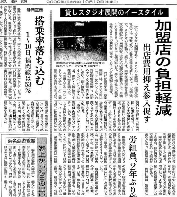 スタジオ経営・開業・起業支援が日本経済新聞に掲載
